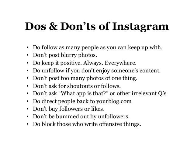 instagram do's en dont's