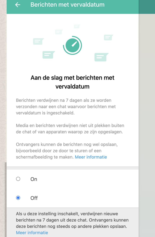 Nieuw: automatisch berichten verwijderen in WhatsApp na 7 dagen